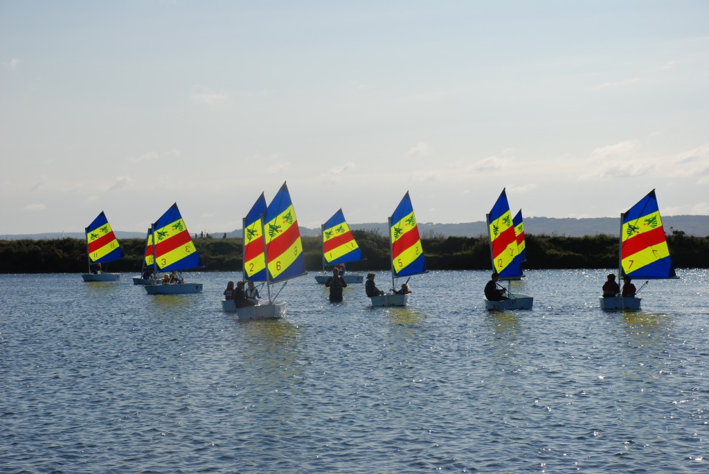 Optimists sailing at Salterns Sailing Club in Lymington