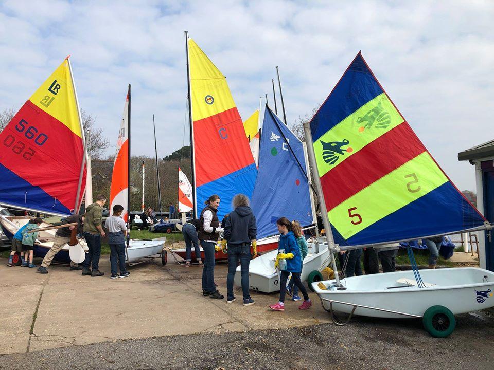 Clean up day at Salterns Sailing Club at the start of each season