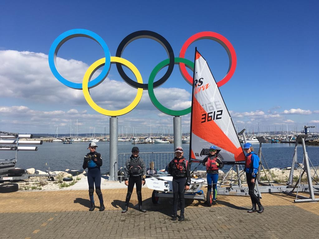 Olympic rings with Tera sailors in front